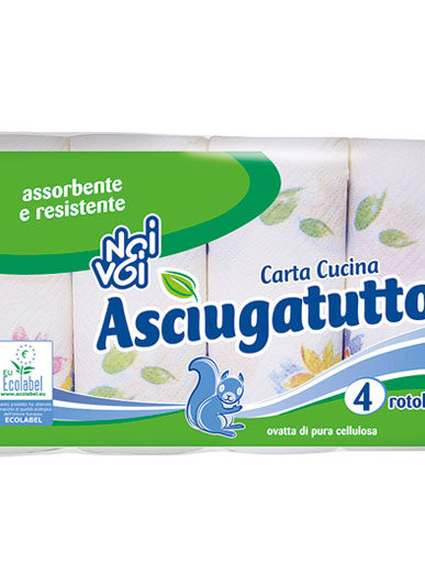 Ecolabel Carta Cucina Asciugatutto 4 rotoli